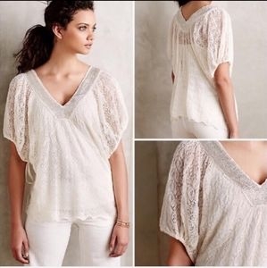 (Anthropologie) Knitted Beaded Cream Boho Top Med